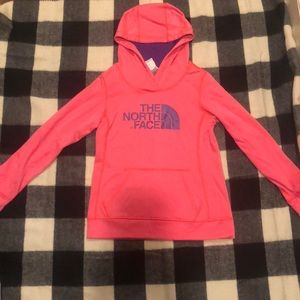 North face salmon pink and purple hoodie